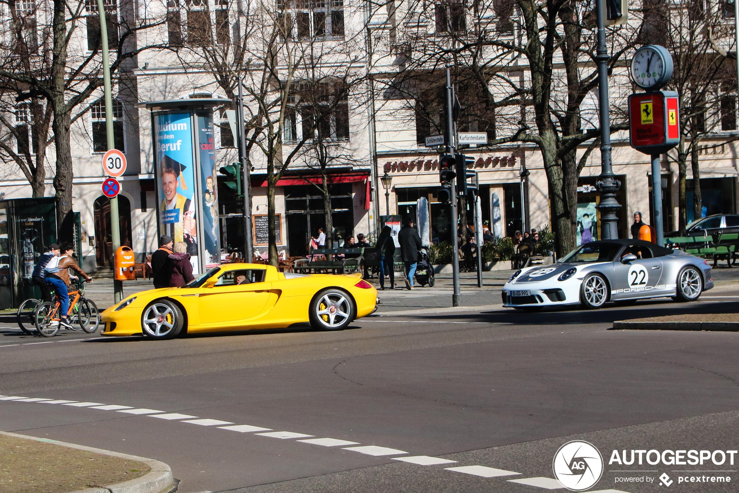 Gele Porsche Carrera GT zorgt tenminste nog voor vrolijkheid